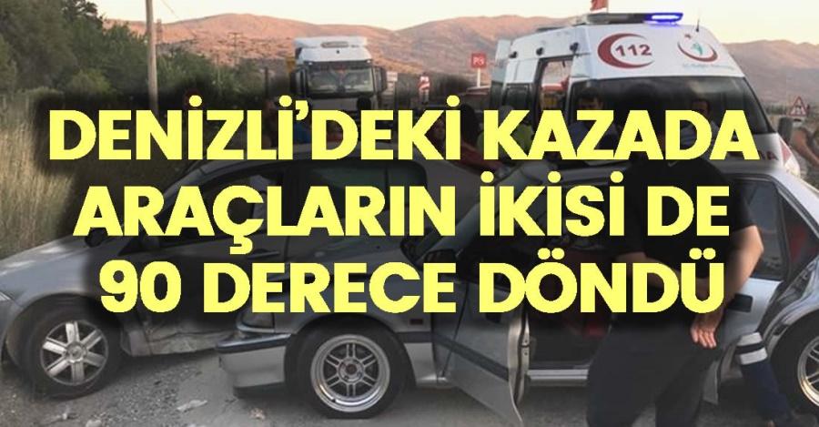 DENİZLİ'DEKİ KAZADA ARAÇLARIN İKİSİ DE 90 DERECE DÖNDÜ - OBJEKTİF DENİZLİ HABER