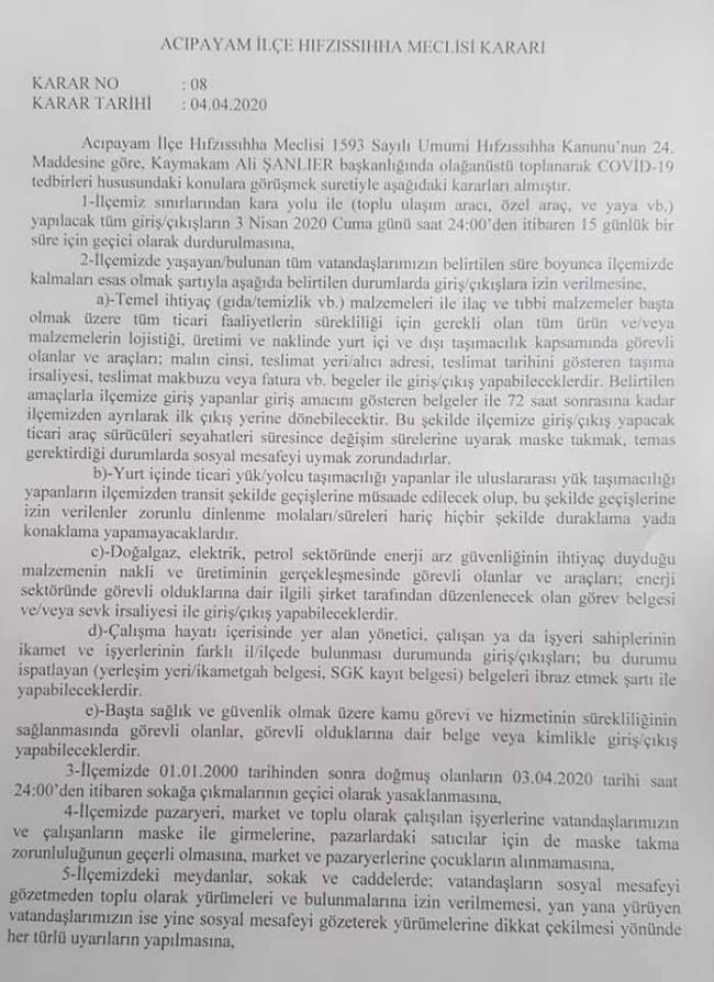 ACİPAYAM'IN GENELİNE KARANTİNA - OBJEKTİF DENİZLİ HABER